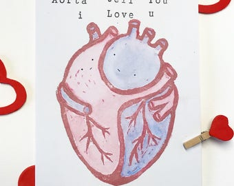 Handmade linocut & stamped Heart Pun Illustration Card with watercolour finish.