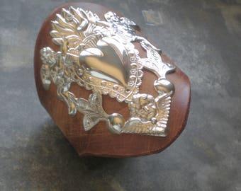Milagro Angel Cherub Tan Leather Cuff. Sacred Heart Leather  Bracelet- Ex Voto Mexico Folk Art. Artisan Handmade. Frida Kaho Collection