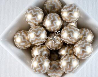 20mm acrylic CHEVRON zig zag chunky beads - GOLD