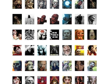 """Zombie Collage Sheet,  Zombie Instant Download, Zombie Digital Collage Sheet, Scrabble Tile Size .75"""" x .83"""",  19x21mm Halloween Collage  #2"""