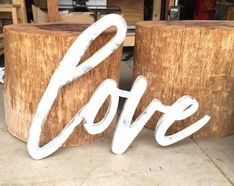 Wooden Love sign, Wedding Love Sign, Large Love Wood Sign, Love Wedding Decor, Large Love Word Wood Cut Wall Art Sign Decor