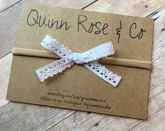 White Mini Hand-tied Lace Bow    Baby Bow    Handmade Bow    White Lace Bow    Nylon Headband    Baby Girl Lace Bow    Quinn Rose & Co Bow