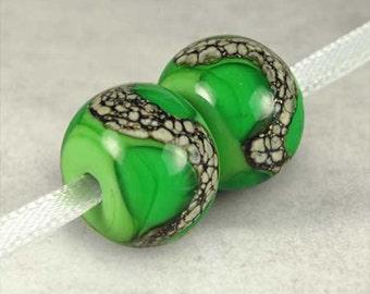 Spring Green Handmade Lampwork Glass Bead Pair 14x11mm