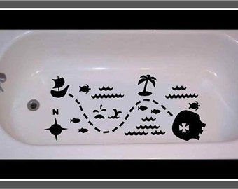 Non-skid decal for bathtub, shower Treasure Map