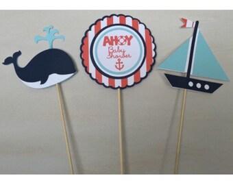 ahoy its a boy decor - ahoy its a boy - nautical baby shower - whale baby shower - baby shower centerpiece - ahoy its a boy sign