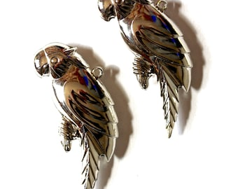 Silver Parrot Pendants. Two pieces.