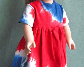Red, White and Blue tie-dye dress fits like American Girls Doll Clothes for Independence Day