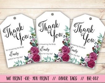 Bridal Shower Thank You Tag, Rose Bridal Shower Tag, Bridal Shower Gift Tag, Rose Bridal Shower Gift Tag, Bridal Shower Favor Tag