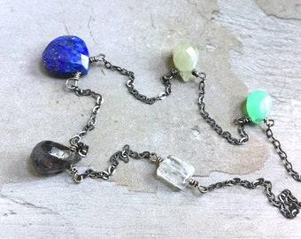 Lapis Lazuli Necklace - Sapphire Necklce - Chrysoprase Necklace - Rustic Necklace - Oxidized Sterling Silver Necklace - Teardrop Necklace