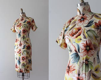 vintage 1940s Cheongsam // 40s floral print dress