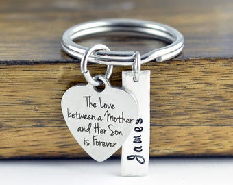 The Love Between A Mother And Her Son Is Forever Keychain / Mother and Son Gift, Mothers Jewelry, Mothers Day Gift, Mothers Keychain