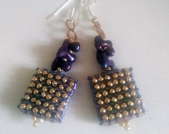 Gold purple squares Prom elegant earrings/ beaded earrings one of kind