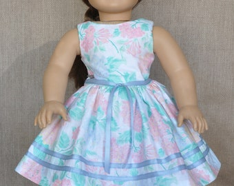 Pretty spring dress for 18 inch doll, fits American Girl and similar dolls.
