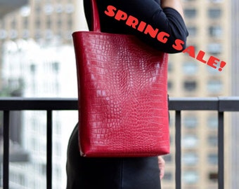 SALE! -Genuine Leather Tote, Pink Leather Tote ,Leather Laptop Bag, Pink Leather Bag, Embossed Tote Bag, Medium Leather Tote, Shopper Tote