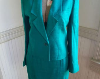 70s Business Suit Teal Size 5/6