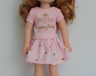 14.5 inch doll clothes made for dolls such as Wellie Wishers, Hearts 4 Hearts Skirt and top