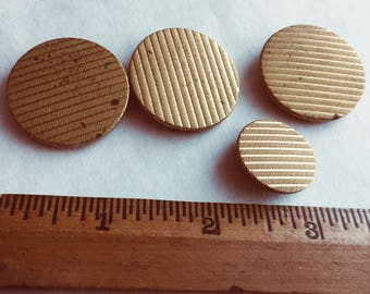 Looks Like Corduroy Faux Fabric Antique Metal Buttons