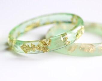 Jade Resin Bangle Gold Flakes Faceted Resin Bangle Green Bangle