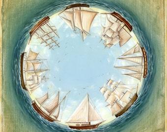 Eight, Dreamy Ships Nautical Print