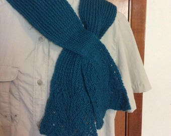 Green - blue lace scarf