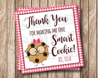 Printable One Smart Cookie Tags, Printable Thank You Tags, Printable Cookie Labels, Pink Gingham, Girl Cookie with Bow