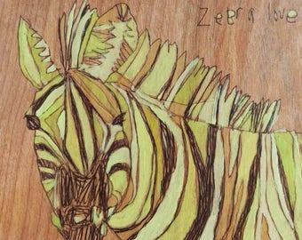 Zebra Jennifer Mercede painting 5x6in 'Goldzee'