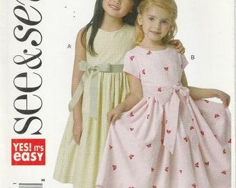 Girls Easy Dress Pattern Full Skirt Front Bow Girls Size 3 - 4 - 5 - 6 Uncut See & Sew 5590 EASY