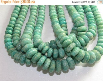 "Natural Amazonite Natural Plane Rondelle Shape Beads Size 6X12 MM Lenght 18""Inch"