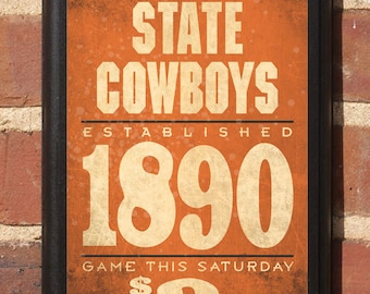 Oklahoma State Cowboys Football - OSU Wall Art Sign Plaque Gift Present Home Decor Vintage Style Classic Pistol Pete Stillwater OK