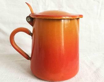 Vintage French Enamel Orange Coffee Pot / sugar container