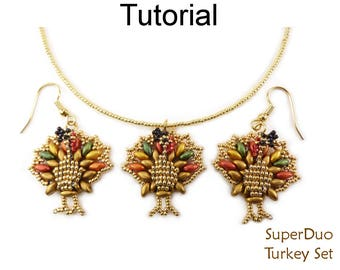 Beaded Turkey Thanksgiving Tutorial - SuperDuo Beading Pattern - Earrings Necklace - Simple Bead Patterns - SuperDuo Turkey Set #27399