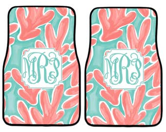 Car Mats Monogram for Women | Car Mats | Lilly Pulitzer Car Mats Monogram | Various Designs | Car Mats Monogram | Monogram Car Mats |