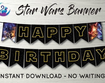 Star Wars Banner, Star Wars Bunting Banner, Star Wars Party Decoration, Star Wars May the Force Be With You Banner, Star Wars Decoration