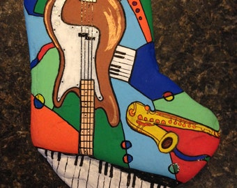 Music Montage Hand Painted Rock