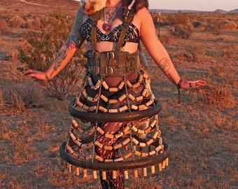 Post Apocalyptic Wine Cork and Taxidermy Cage Dress