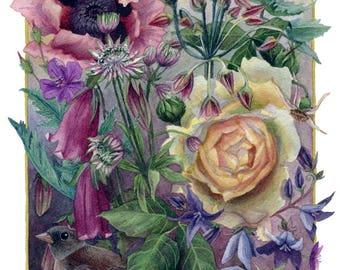 Fine Art Print of Original Watercolor Painting - Cottage Garden