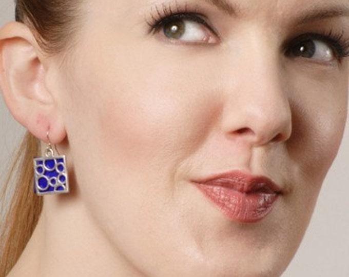 Medium Square bubble earrings in Blue