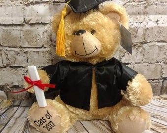 Graduation bear, personalized graduation gift, graduation gift, grad gift, gift for boy, gift for her, class of 2017, personalized gift