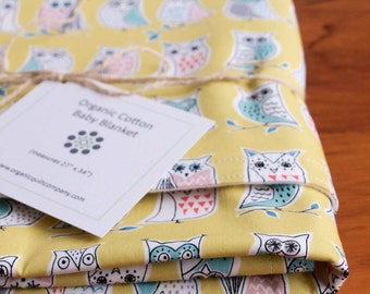Yellow Owl Baby Blanket; Woodland Receiving Blanket Gift; Soft Cozy Organic Cotton Crib Blanket; Eco Friendly Baby Shower Gift; Hootenanny