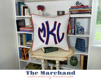 The Marchand Jumbo Monogrammed Pillow Cover Euro Sham - 20 x 20 square