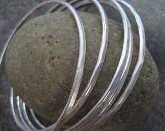 Essential Silver Bangle........Hammered Sterling Silver Bracelet