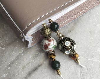 BEADED BOOKMARK for Travelers Notebooks | Planners | Journals | Books ANTIQUE gold black