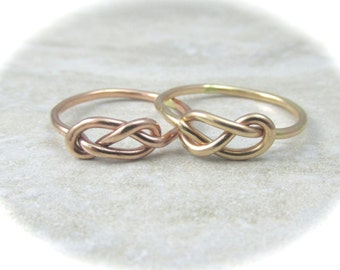 Gold Celtic Knot Ring  / 14K Gold Infinity Ring / Tie the Knot Ring / Wedding Sale / Promise Ring