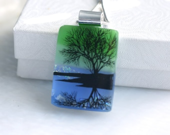 Dichroic Fused Glass Pendant Necklace Jewelry Refection Tree 001183, GetGlassy