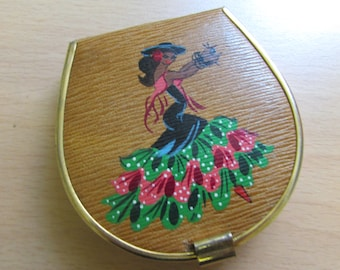 Vintage hand-painted Flamenco dancer compact with mirror