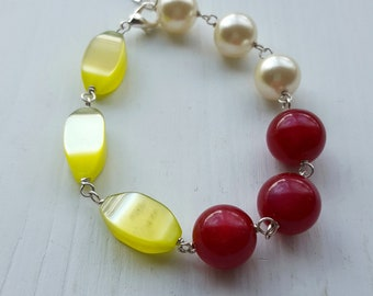 champagne breakfast bracelet - vintage lucite and silverplated brass - pearl, cranberry, lime green - moonglow beads, colorblock