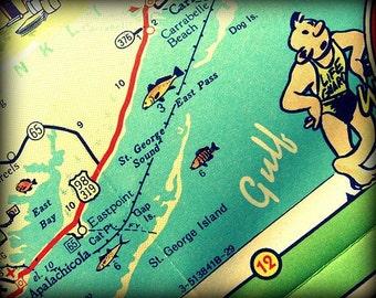 St George Island Map Art 11x14 16x20 Gulf of Mexico St George Island Art Apalachicola Map Art Beach St George Print Florida Beach House Gift