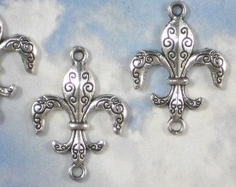 10 Inscribed Fleur de Lis Connectors Links Charms 30mm Antiqued Silver Tone Pendants  NOLA FDL (P2006)