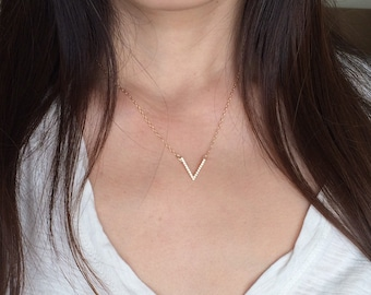Gold Chevron V Pave Crystal Necklace also in Silver