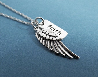 Glauben Halskette Angel Wing Charme, Sterling Silber, Wing Halskette, Angel Wings, glauben Anhänger